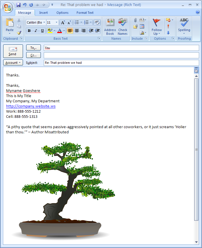 Email Signature Quotes: Grumpy Coworker